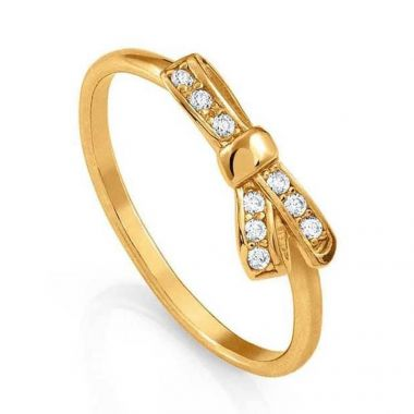 NOMINATION YELLOW GOLD RING BOW SYMBOL WITH STONES