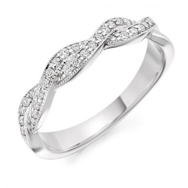 18CT WHITE GOLD DIAMOND TWIST WEDDING RING