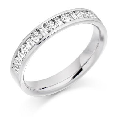 18CT WHITE GOLD DIAMOND HALF ETERNITY RING