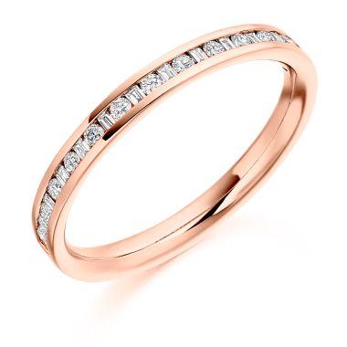 18CT ROSE GOLD DIAMOND HALF ETERNITY RING