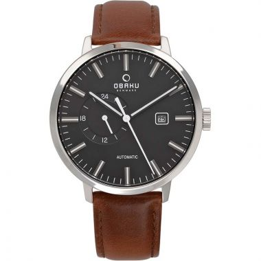 OBAKU MEN'S SILVER AUTOMATIC WATCH WITH SMOOTH DARK BROWN LEATHER AND BLACK FACE