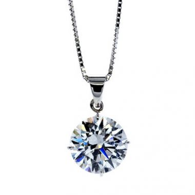 CARAT LONDON 9K WHITE GOLD PENDANT WITH CHAIN