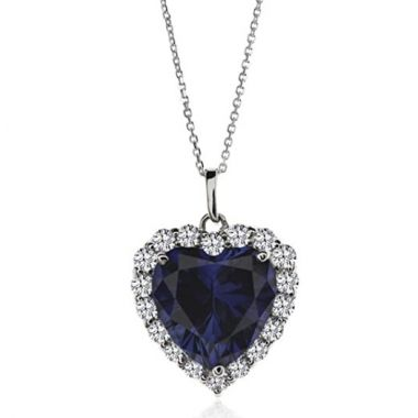 CARAT LONDON SILVER HEART SHAPED SAPPHIRE NECKLACE