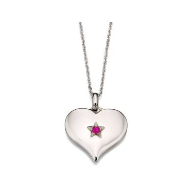 LITTLE STAR PINK TOPAZ LARGE HEART PENDANT AND CHAIN