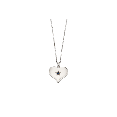 LITTLE STAR BLUE TOPAZ LARGE HEART PENDANT AND CHAIN