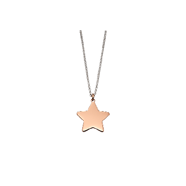 LITTLE STAR ROSE GOLD PLATED PLAIN LARGE STAR PENDANT AND CHAIN