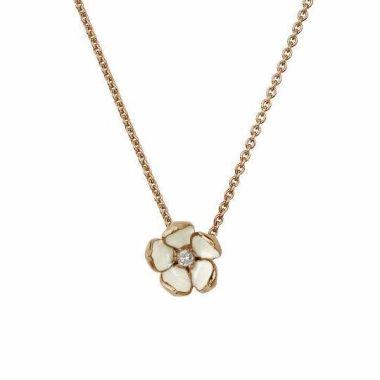 SHAUN LEANE ROSE GOLD VERMEIL CHERRY BLOSSOM PENDANT WITH DIAMOND