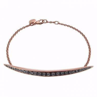 SHAUN LEANE ROSE GOLD VERMEIL AND BLACK SPINEL QUILL BRACELET