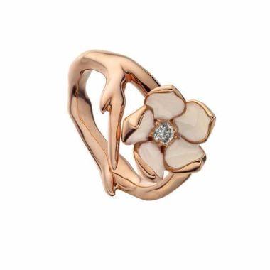 SHAUN LEANE ROSE GOLD VERMEIL CHERRY BLOSSOM RING WITH DIAMOND