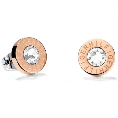 TOMMY HILFIGER ROSE GOLD SIGNATURE STUD EARRINGS