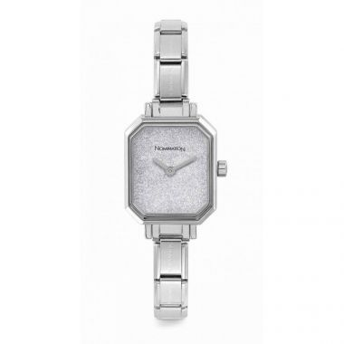 NOMINATION CLASSIC COMPOSABLE RECTANGLE WATCH WITH SILVER GLITTER DIAL