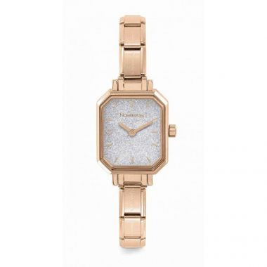 NOMINATION CLASSIC COMPOSABLE RECTANGLE WATCH IN ROSE GOLD WITH SILVER GLITTER DIAL