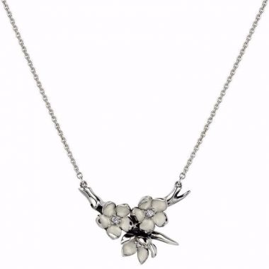 SHAUN LEANE SILVER CHERRY BLOSSOM DIAMOND FLOWER POSEY PENDANT