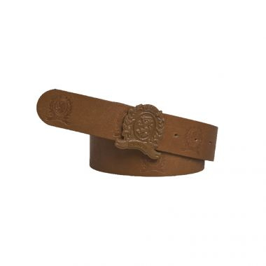 TOMMY HILFIGER EMBOSSED CREST BUCKLE LEATHER BELT IN WHISKEY