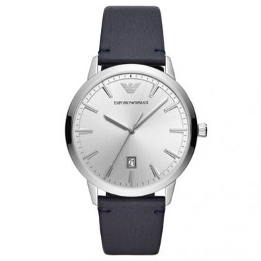 EMPORIO ARMANI MEN'S DATE LEATHER STRAP WATCH IN NAVY AND SILVER