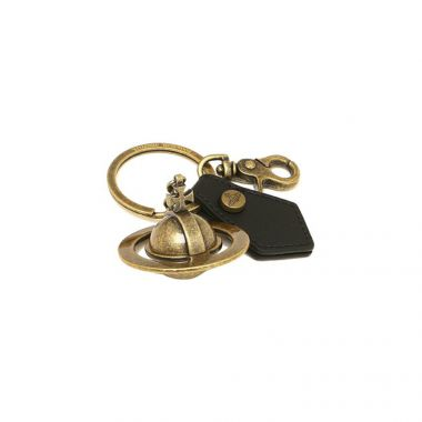 VIVIENNE WESTWOOD 'SOFIA' 3D ORB KEYRING IN GOLD BRASS WITH BLACK LEATHER