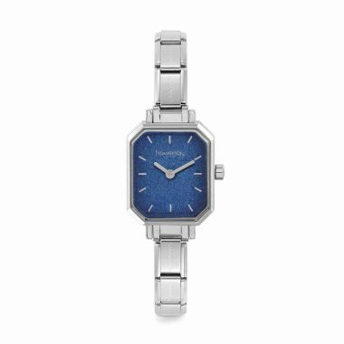 NOMINATION CLASSIC COMPOSABLE RECTANGLE WATCH WITH BLUE GLITTER DIAL