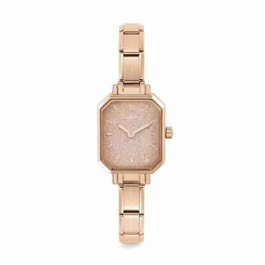 NOMINATION CLASSIC COMPOSABLE RECTANGLE WATCH IN ROSE GOLD WITH PINK GLITTER DIAL