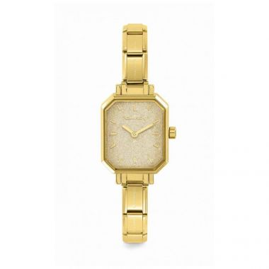 NOMINATION CLASSIC COMPOSABLE RECTANGLE WATCH IN YELLOW GOLD WITH GOLD GLITTER DIAL