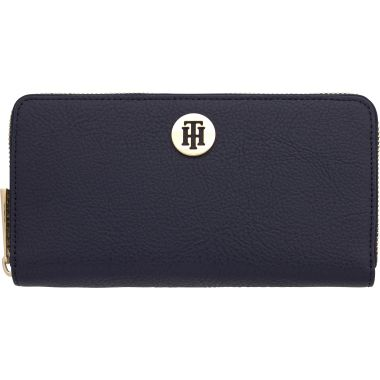TOMMY HILFIGER LARGE ZIP WALLET IN NAVY