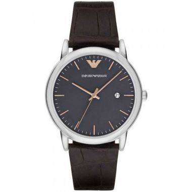 EMPORIO ARMANI GENT'S STAINLESS STEEL BROWN LEATHER STRAP WATCH