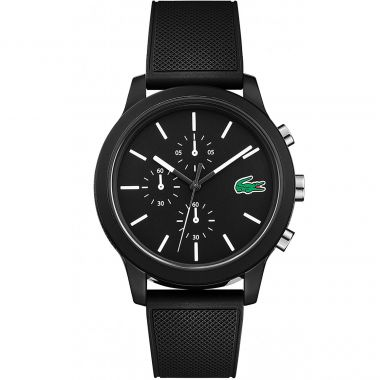 LACOSTE GENT'S 12.12 CHRONOGRAPGH WATCH WITH BLACK SILICONE STRAP
