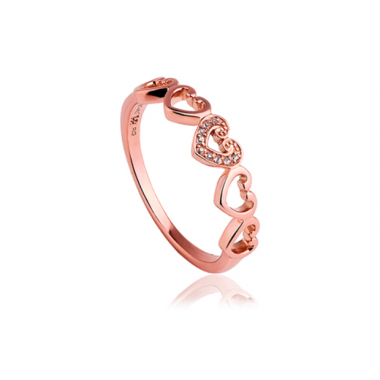 CLOGAU 9CT ROSE AFFINITY HEART STACKING RING