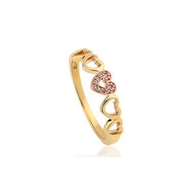 CLOGAU 9CT YELLOW GOLD AFFINITY HEART STACKING RING