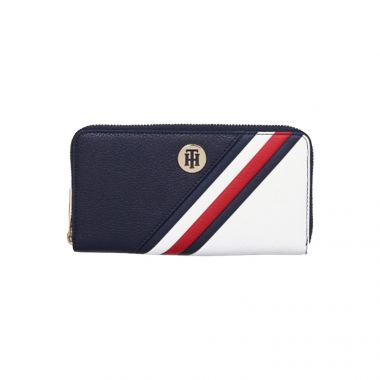 TOMMY HILFIGER CORE SIGNATURE ZIP-AROUND WALLET IN CORPORATE AW0AW081220GY