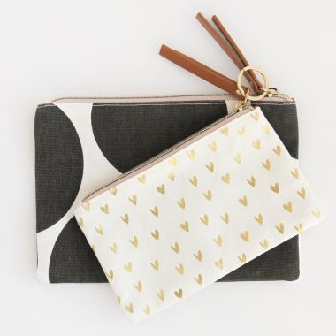 CAROLINE GARDNER BIG SPOT WITH HEARTS CANVAS POUCH DUO