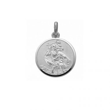 COE & CO. 20 INCH SILVER DIAMOND CUT BELCHER CHAIN WITH DOUBLE SIDED ST CHRISTOPHER PENDANT