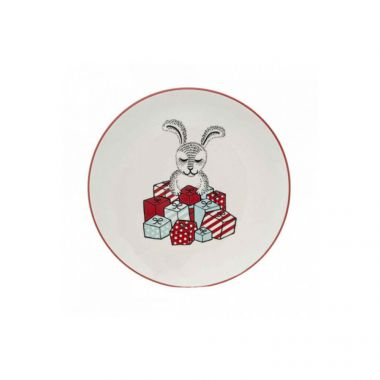 BLOOMINGVILLE TWINKLE WHITE CERAMIC ROUND PLATE
