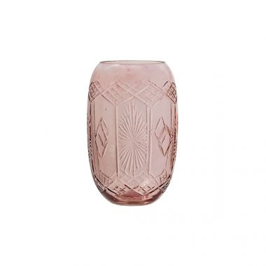 BLOOMINGVILLE ETCHED GLASS VASE IN ROSE