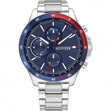 TOMMY HILFIGER GENT'S BANK SILVER STAINLESS STEEL AND BLUE WATCH
