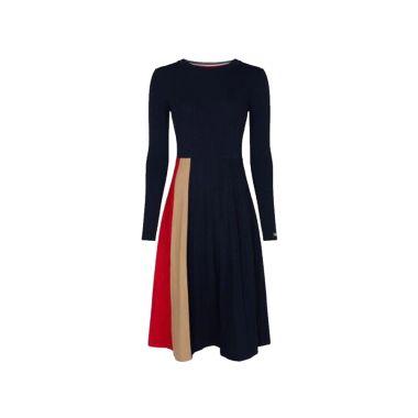 TOMMY HILFIGER COLOUR-BLOCK VISCOSE PLEATED DRESS