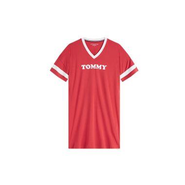 TOMMY HILFIGER SHORT SLEEVE LOGO NIGHT DRESS IN RED