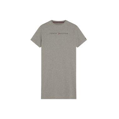 TOMMY HILFIGER LOGO PRINT NIGHT DRESS IN GREY UW0UW01639004