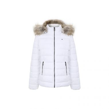 TOMMY JEANS ESSENTIAL HOODED JACKET IN WHITE