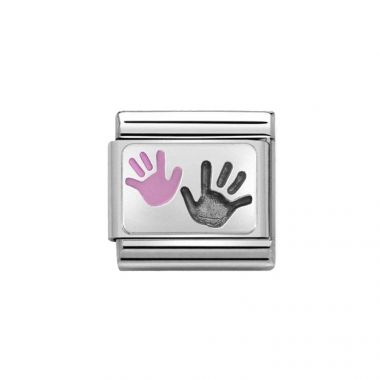 NOMINATION COMPOSABLE CLASSIC SILVER HANDS DAUGHTER PARENT LINK