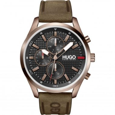 HUGO BY HUGO BOSS #CHASE GENT'S CHRONOGRAPH LEATHER STRAP WATCH 1530162