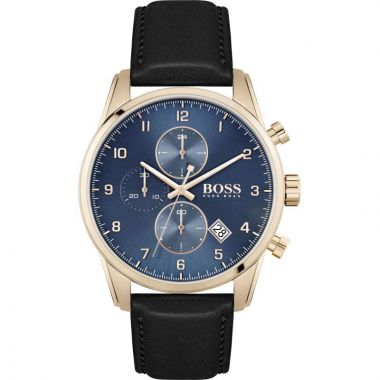 BOSS SKYMASTER GENT'S BLACK LEATHER STRAP WATCH