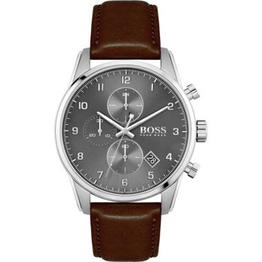 BOSS SKYMASTER GENT'S BROWN LEATHER STRAP WATCH 1513787