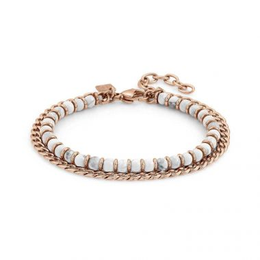 NOMINATION INSTINCT ROSE GOLD PVD AND WHITE AGATE CHAIN BRACELET