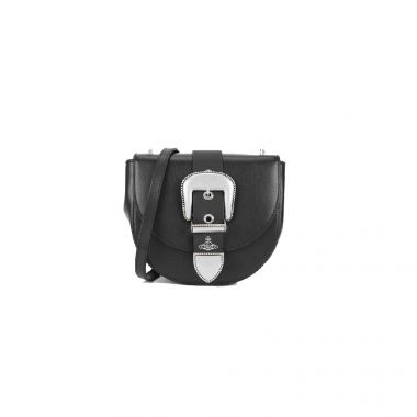 VIVIENNE WESTWOOD RODEO SMALL SADDLE BAG IN BLACK