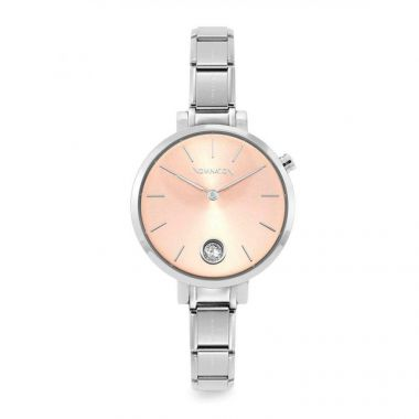 NOMINATION CLASSIC COMPOSABLE PARIS WATCH WITH ROUND PINK CZ DIAL