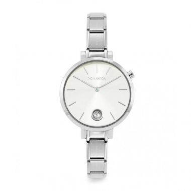 NOMINATION CLASSIC COMPOSABLE PARIS WATCH WITH ROUND SILVER CZ DIAL