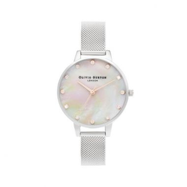 OLIVIA BURTON DEMI MOTHER OF PEARL DIAL SILVER & ROSE GOLD MESH WATCH