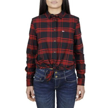 TOMMY JEANS KNOT FRONT CHECKERED SHIRT IN RED AND BLACK
