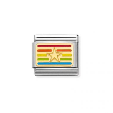 NOMINATION CLASSIC COMPOSABLE GOLD & ENAMEL RAINBOW STAR FLAG LINK