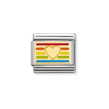 NOMINATION CLASSIC COMPOSABLE GOLD & ENAMEL RAINBOW HEART FLAG LINK